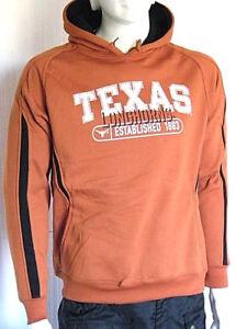 Felpa-Uomo-Cappuccio-Maglia-NCAA-Texas-C001-Marrone-Tg-L-veste-grande