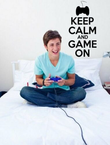 /'Keep Calm and Game On/' Gamer Teenager Kids Room Wall Stickers Decal.New!