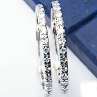 1.5 Ct Russian Cz 24mm Hoop .925 Sterling Silver Earrings 1 on sale