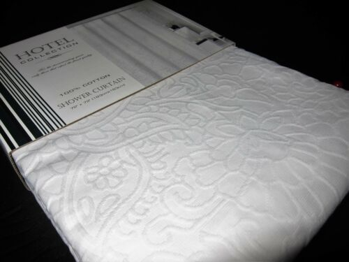 100% COTTON White Matelasse Floral Paisley Fabric Shower Curtain 72x72 NEW