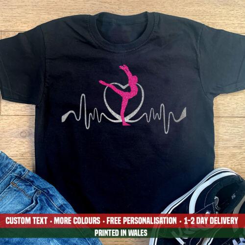 Kids Gymnast Glitter Heartbeat T Shirt Lifeline Gymnastics Dancer Flip Gift Top