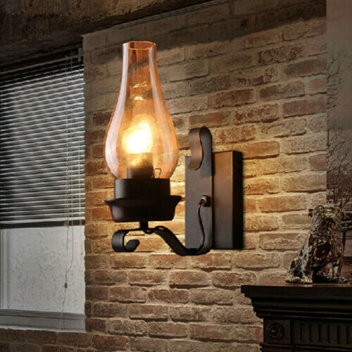 Industrial Wall Sconce Lamp with Glass Lampshade Rustic Light Retro Wall Light