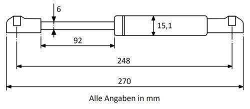 Gasdruckfeder Gasdruckdämpfer Gasfeder  Länge Ausschubkraft u Farbe wählbar