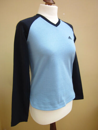 BNWT Ladies ADIDAS Blue Cotton Long Sleeve Running Top 10,12,14
