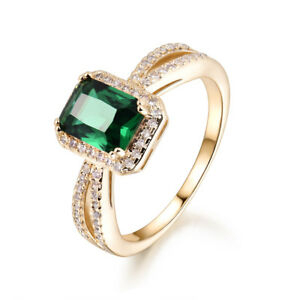 Retro-Rectangular-Emerald-Yellow-Gold-Filled-Women-Lady-Wedding-Jewelry-Rings