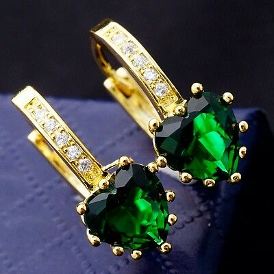 Special Green Hearts Cubic Zirconia Yellow Gold Plated Women Lady Earrings
