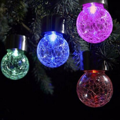 Solar Powered Mosaic Glass Ball Garden Stake Lamp Color Change Yard LED VWX
