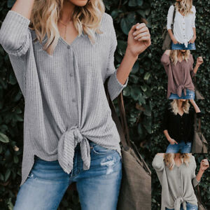 Sexy-Womens-Loose-Knit-Tunic-Blouse-Tie-Knot-Henley-Tops-Bat-Wing-Plain-Shirts