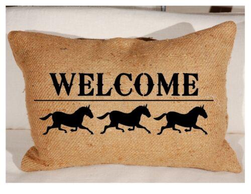 Plantilla de bienvenida Caballos Granja signo Almohada Crafts Country Cottage primitivo
