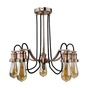 5 Light Ceiling Lamp Antique Copper Finish Modern Chandelier Decorative Lighting Ebay