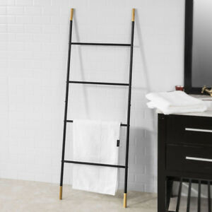 Amazing Details About Sobuy Metal Bathroom Ladder Shelf Towel Holder Stand 4 Rods Black Frg264 Sch Uk Interior Design Ideas Gentotryabchikinfo