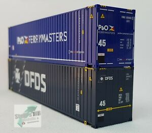 Herpa-076937-contenedores-set-high-Cube-2x-45-ft-DFDS-p-amp-o-construiste-transformacion-adecuado
