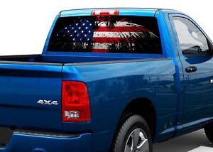 Patriotic American Flag Eagle Rear Window Decal Sticker Pickup - Window decals for trucks rear