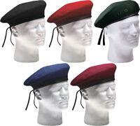 Military Beret Army Eyelets No Flash Wool, Various Colors