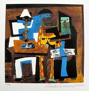 Pablo-Picasso-THREE-MUSICIANS-Estate-Signed-amp-Numbered-Small-Giclee-Art
