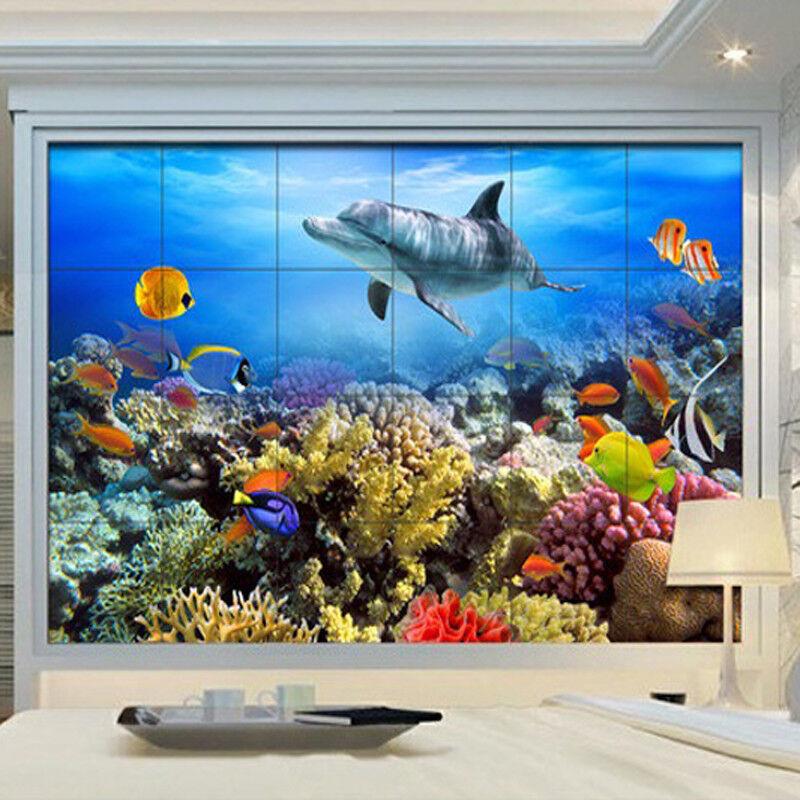 Papel Pintado Mural Vellón Corales coloridos Delfines 23 Paisaje Fondo Pansize