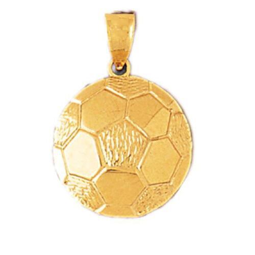 14K OR MASSIF Ballon de football émail Charme Pendentif