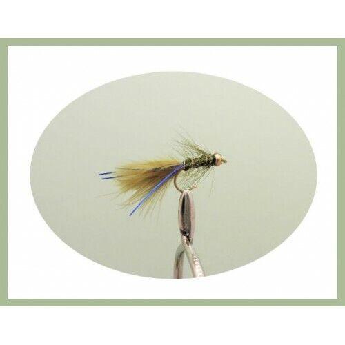 18 x MINI Gold head Flash Damsels Trout Flies, Fishing flies,Damsels Size 12