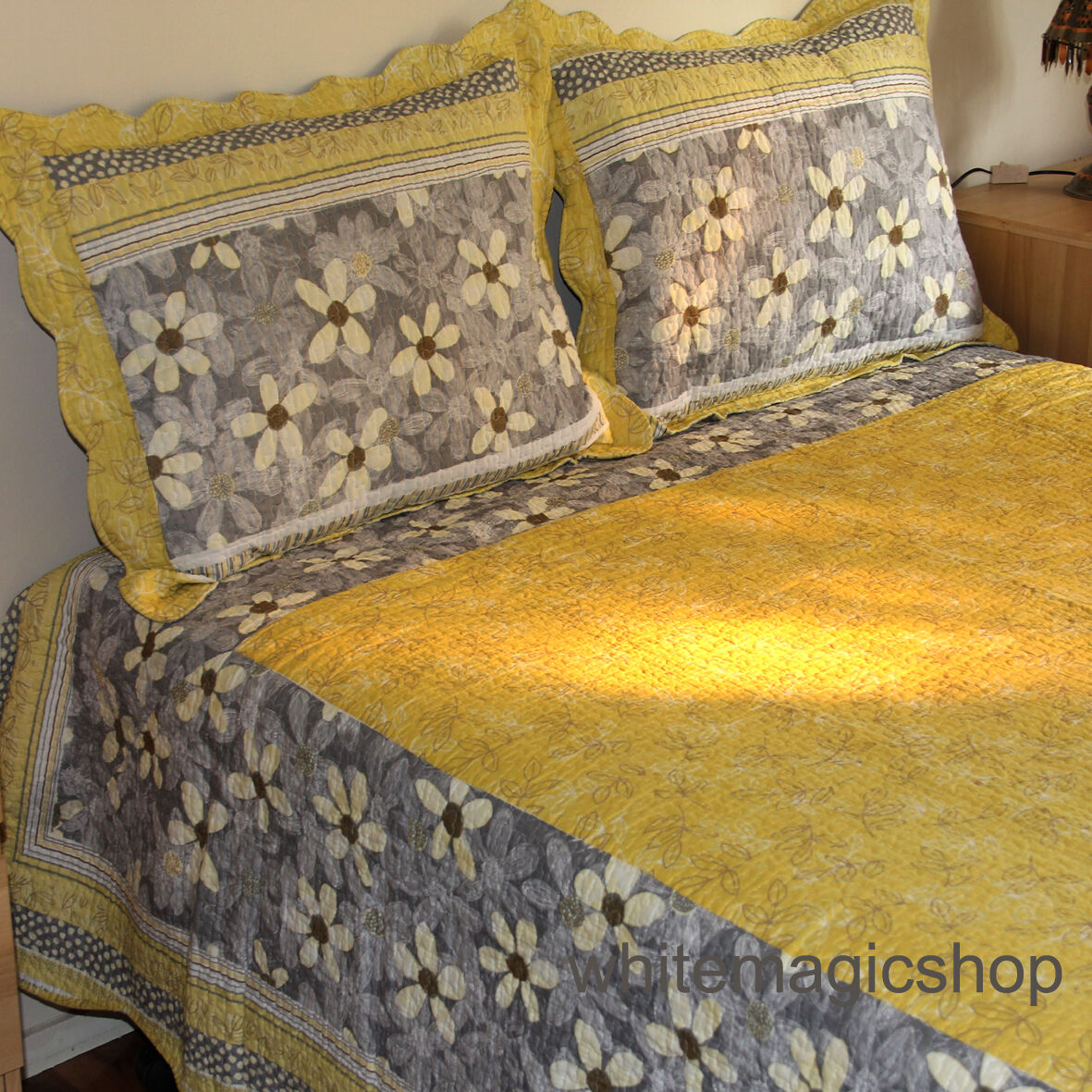 Bedspread Reversible Cotton Quilted Bedspread 3PCS Set In Bright Gelb Queen