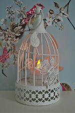 NUOVO Stile Vintage Shabby Chic Crema Bird Cage Tealight Lanterna Ornamento