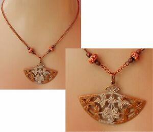 Copper Pendant Fan Necklace Jewelry Handmade New Chain Fashion