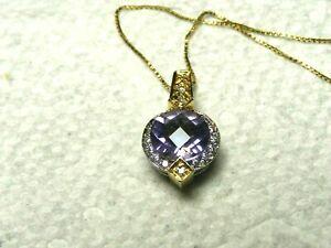 Vtg-18k-Gold-Diamond-Amethyst-Necklace