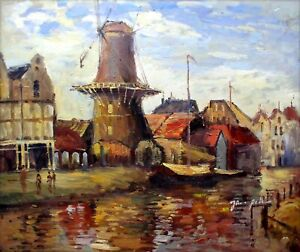 Claude-Monet-Zaandam-Repro-Quality-Hand-Painted-Oil-Painting-20x24in