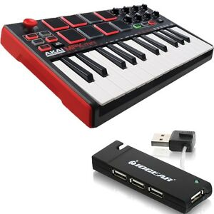 akai professional mpk mini mkii mk2 compact keyboard pad controller usb hub 694318015599 ebay. Black Bedroom Furniture Sets. Home Design Ideas