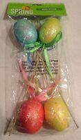 10 Easter Egg Floral Picks Glitter Pastel Foam Ribbon,lot Of 9(4-pack) 36 Total