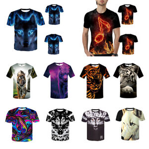 Fashion-Men-Casual-T-Shirt-3D-Funny-Print-Wolf-Short-Sleeve-Tops-Tee-Hot-Sale