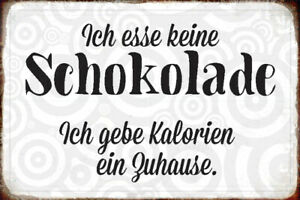 Ich Esse No Chocolate Tin Sign Shield Arched Metal 20 X 30 CM