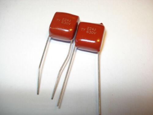 Brown Dip Metallized Polypropylene 630V224j  .22uF 2 Capacitor
