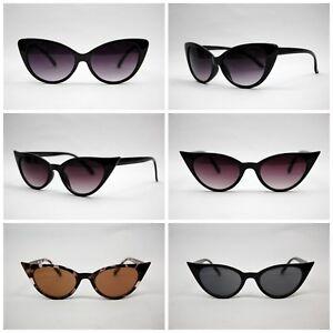 Womens-VTG-annees-50-60-Style-lunettes-de-soleil-retro-Rockabilly-lunettes-de-chat-clair-objectif