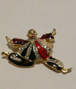 Vintage Clown Face Brooch in Gold Tone Studded with Rhinestones