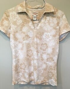 IZOD-XFG-Cool-FX-Women-039-s-Athletic-Top-Polo-Shirt-Sz-Small-Tan-White-Brown-Flower