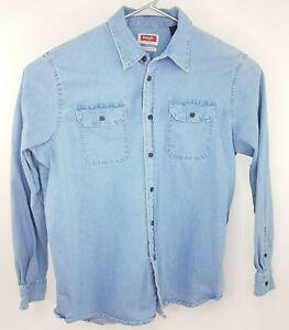 Wrangler-Light-Denim-Flex-For-Comfort-Men-039-s-Large-Button-Down-Long-Sleeve-Shirt