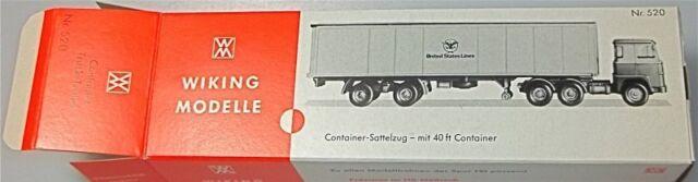 États Unis Lines Semi-Remorque avec 40 Pieds Container Carton Blanc Wiking 520 Å