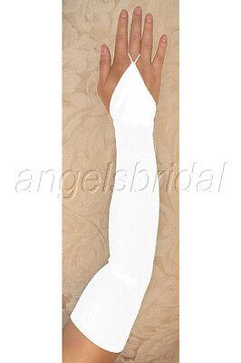 "23/"" WHITE fingerless STRETCH SATIN BRIDAL WEDDING GOWN DRESS PROM OPERA GLOVES"