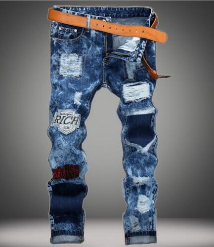 2018 Men straight denim trousers Hole patch Slim blue denim pants jeans trousers
