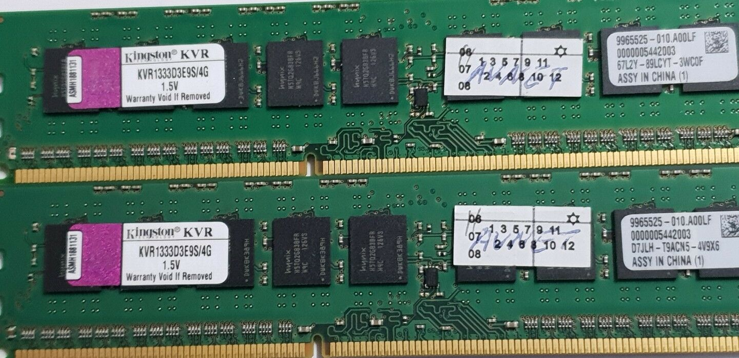 LOT of 2 x 4GB PC3-10600E Kingston ECC DDR3  KVR1333D3E9S//4G double-sided MEMORY