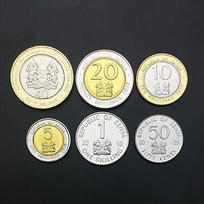 UNC 10+ 50 cents /& 1+5+10+20+40 shillings KENYA set of 7 coins 2015