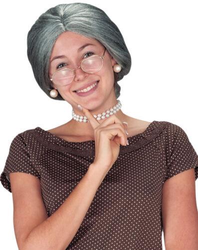 GRANDMA GRANNY OLD LADY BUN GREY WIG COSTUME FW9259