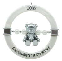 Hallmark Keepsake 2016 Grandbaby's First Christmas Teddy Bear Rattle Ornament