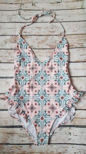 New Kahlo Tile Print Frill Swimsuit Pink//Multi SE23 Swimwear Beach