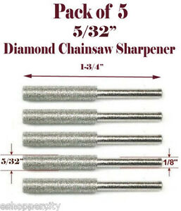 Set 5//32 Diamond Chainsaw Sharpener Burr Stone Round File For Craftsman Replacw