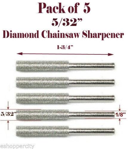 "5 Pc 5/32"" Diamond Chainsaw Sharpener Burr Stone File Fits Craftsman Husqvarna"