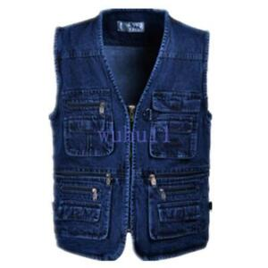 Men-039-s-Casual-Denim-Sleeveless-Vest-Pocket-Outdoor-Zipper-Jean-Waistcoat-Coat-WU