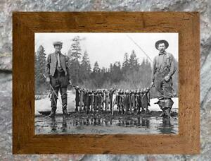 Vintage-Fishing-Stringer-of-Trout-amp-Fly-Rods-Antique-5-034-x-7-034-Photo-Print