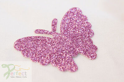 Pack 12 Glitter Butterflies Self Adhesive Wedding Favour Box Craft Decoration