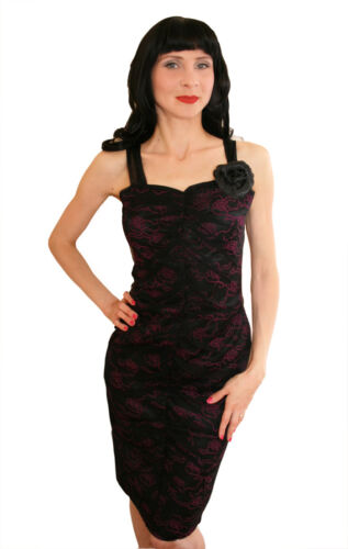 Retro Lace Rose Dress Rockabilly Pin Vintage 12 8 Pencil Style Wiggle Up ZqwzHA